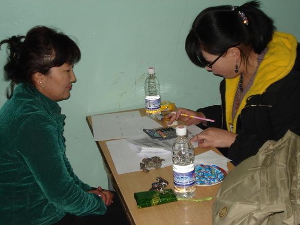 Begin van het survey onder dorpsbewoners in Mongolië