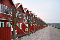 Afbeelding van rij rode huizen