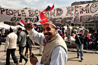 Menigte op het Tahrir plein, 12 februari 2011
