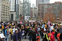 Protesterende menigte in Chicago