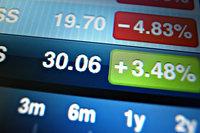 Beurskoersen uitvergroot op computerscherm