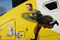 Tekening van Kuifje op de Thalys trein