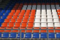 Stoelen van de tribune van het Willem II stadion in Tilburg